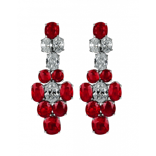 Pigeon Blood Ruby and Diamond Earrings