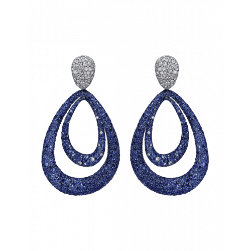 Titanium Glam Sapphire and White Diamond Earrings