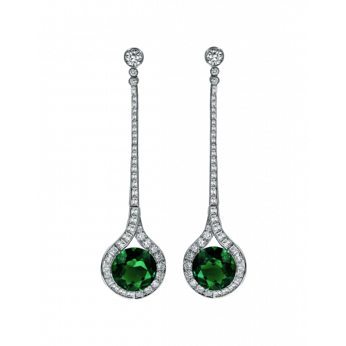 Emerald Diamond Drop Earrings