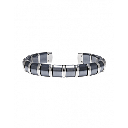 Hematite Cuff Bangle 17 Stainless Steel Bars