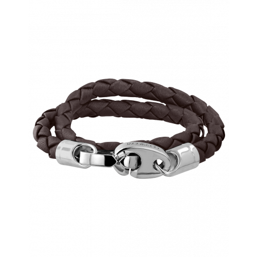 Perfect Fit Bracelet Double Strap White Gold with Braided Dark Brown Leather