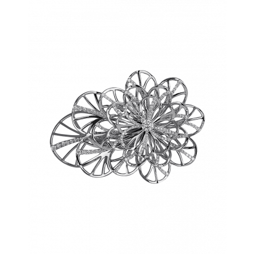 Half Pave White Gold Flower Cocktail Ring