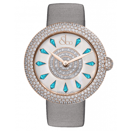 Brilliant Half Pave Rose Gold Icy Blue Sapphires 44mm