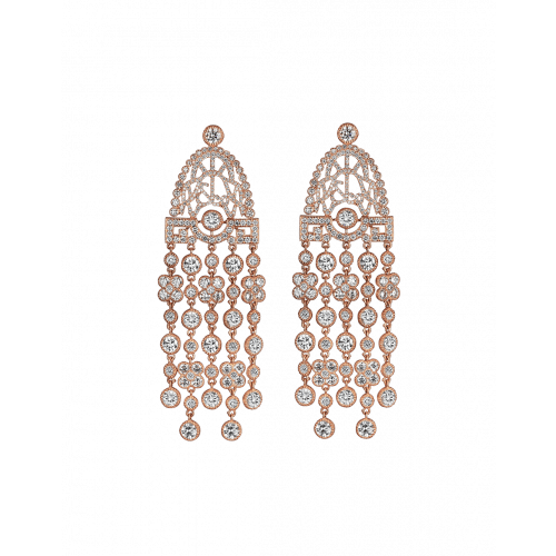 Jezebel Rose Gold White Diamond Earrings Short
