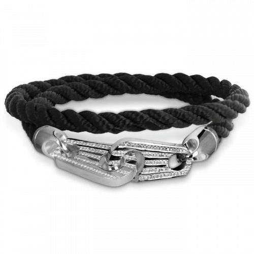 Mens Perfect Fit Bracelet Black with White Diamonds