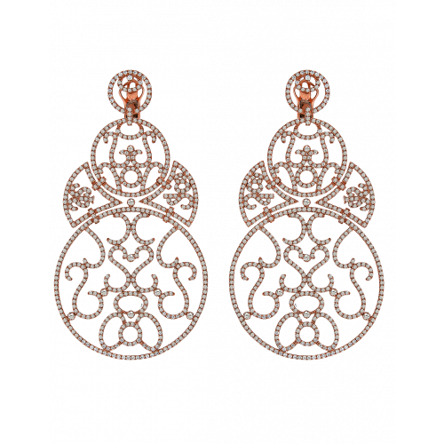 Lace Large Size Rose Gold Diamond Lace Earrings