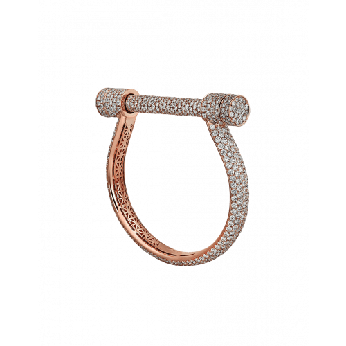 Rose Gold Estribo Full Pave Bigger Bangle