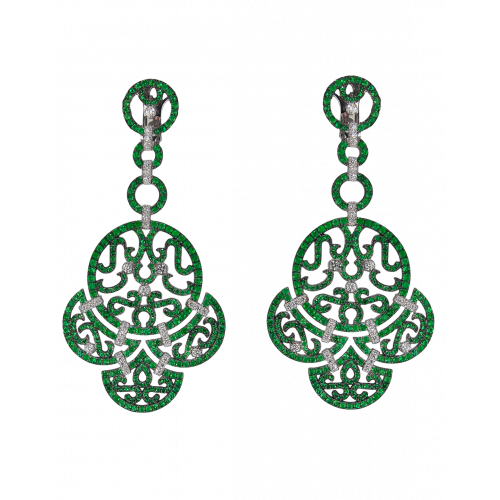 Lace White Gold Emerald Lace Earrings