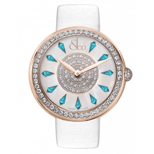 Brilliant One Row Rose Gold Icy Blue Sapphires 44mm