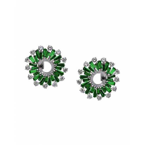 Tsavorite & Round Cut Diamonds Earrings