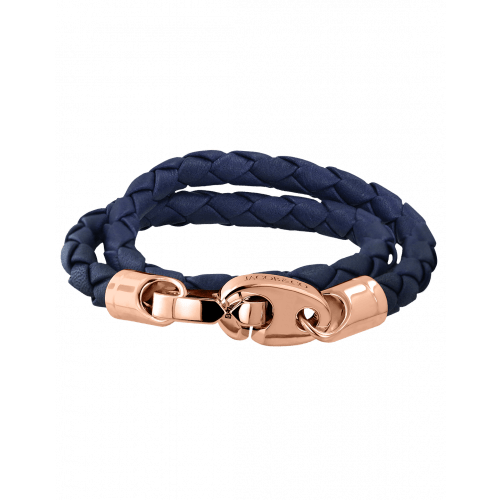 Perfect Fit Bracelet Double Strap Rose Gold Blue Leather