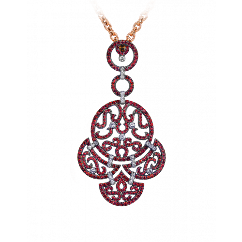 Lace Rose Gold Ruby Lace Pendant