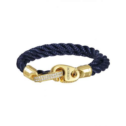Perfect Fit Bracelet Double Strap Yellow Gold with White Diamonds on Blue Rope
