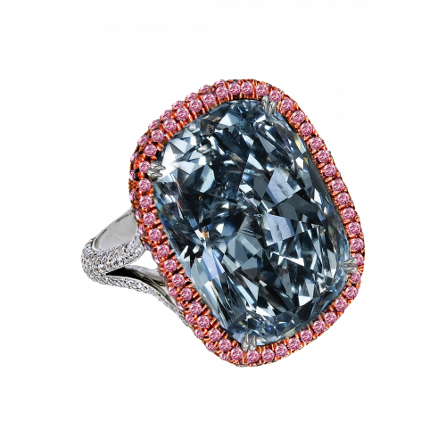 Fancy Blue Gray Cushion Cut Diamond Ring