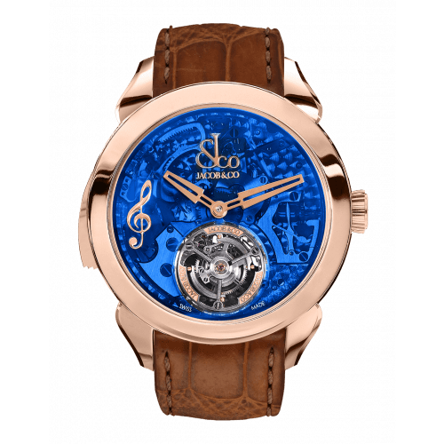 Palatial Flying Tourbillon Minute Repeater Rose Gold (Blue Mineral Crystal)