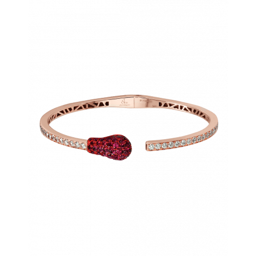Ruby and Diamond Rose Gold Match Cuff Bracelet 2