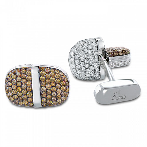 White Gold Pave Set Diamond Flip Cufflinks