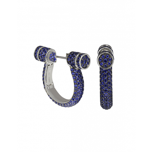 Full Pave Sapphire Estribo Earrings