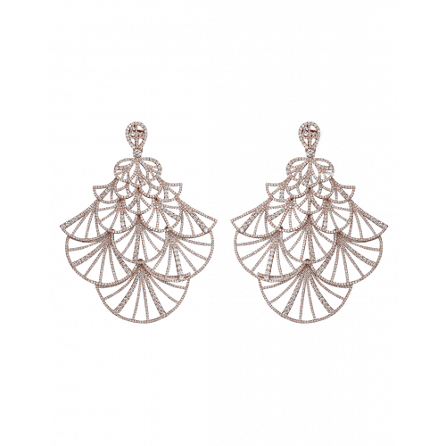Full Pave Fan Rose Gold Earrings