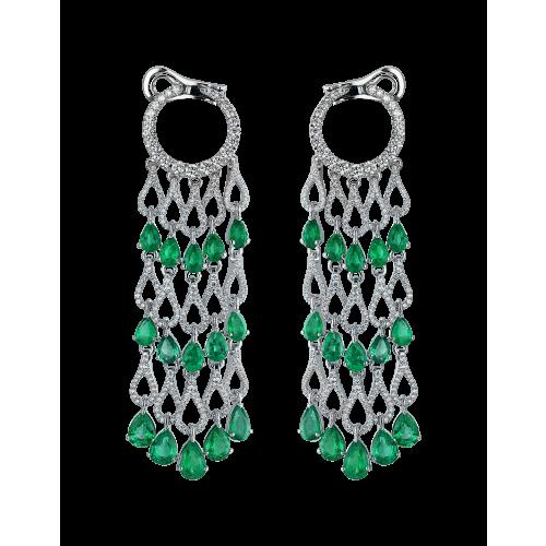 Talia Emerald Diamond Chandelier Earrings