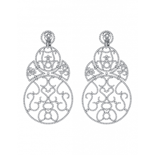 Lace Large Size White Gold Diamond Lace Earrings