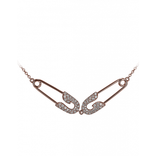 Small Rose Gold Diamond Double Safety Pin Necklace