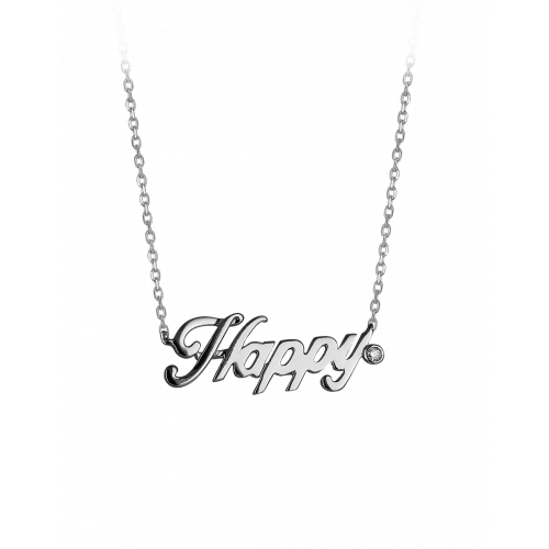 Smaller White Gold  Plain Happy Necklace