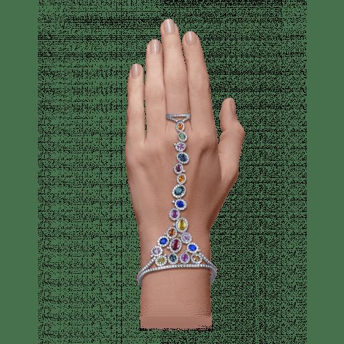 White Gold Multicolor Ring Bracelet