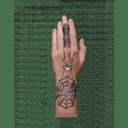 Black Plated Full Finger Ring and Bracelet