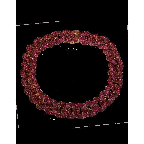 Cuban Link Bracelet Rubies