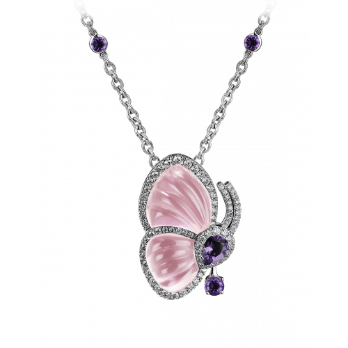 Papillon Necklace with Pink Quartz
