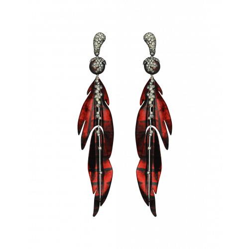 St. Barths Titanium and White Gold Red Leaf Earrings