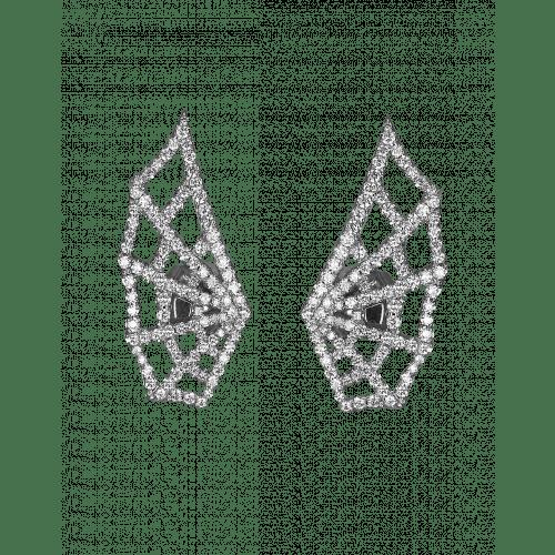White Gold Brilliant Cut Diamond Spider Web Earrings 2