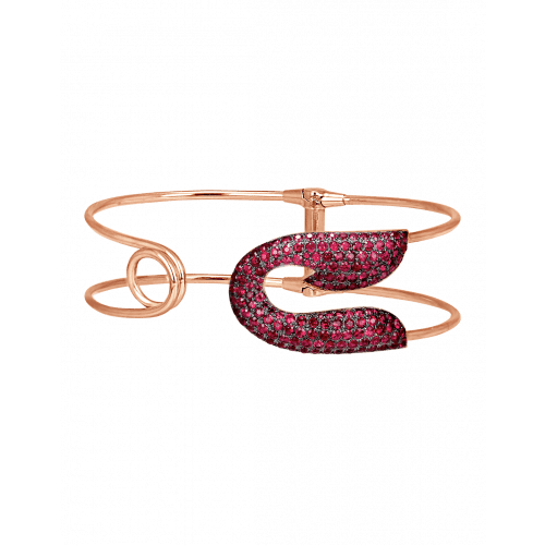 Rose Gold Ruby Safety Pin Cuff