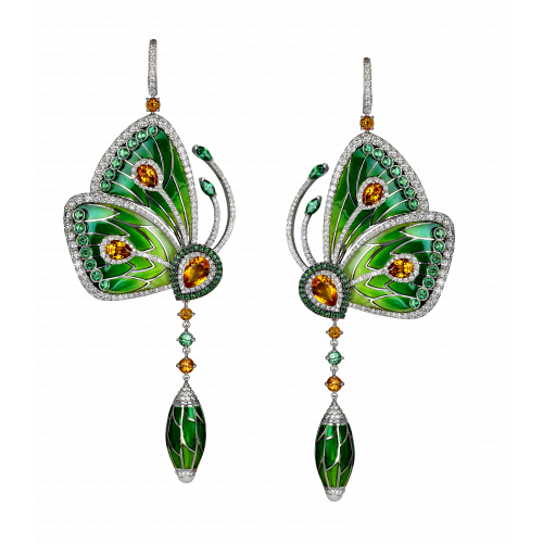 Rain Forest Green Topaz Papillon Large Earrings