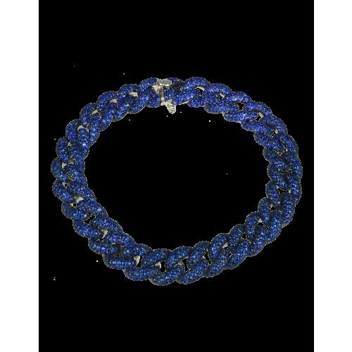 Cuban Link Bracelet Blue Sapphires