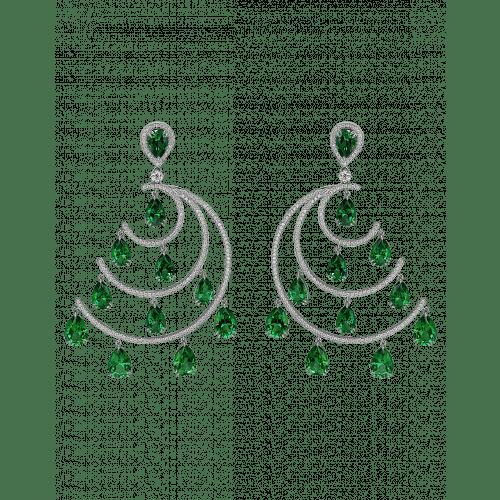 Crescent Moon Green Topaz Chandelier Earrings