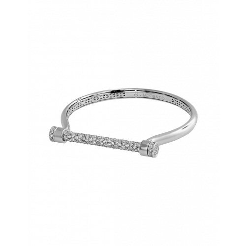 White Gold Estribo 3.60ct Half Pave Bangle
