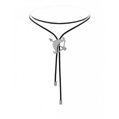 Zodiac Sagittarius String Necklace White Gold Diamond