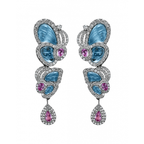 Small Drop Blue Topaz Papillon Earrings