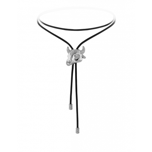 Zodiac Taurus String Necklace White Gold Diamond