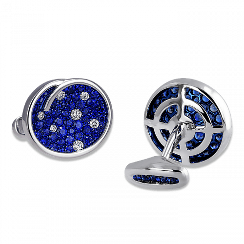 Oval Swirl Sapphire Cufflinks