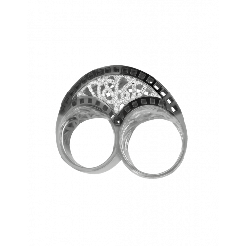 Two Finger White Gold Cocktail Ring