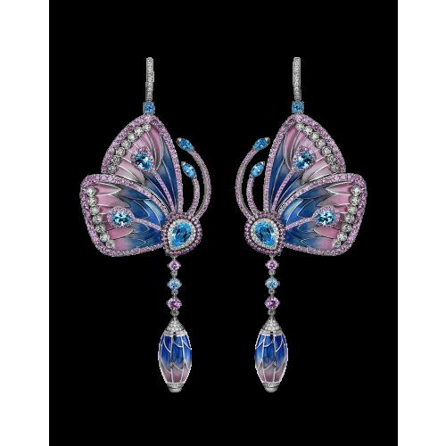 PINK SAPPHIRES & BLUE TOPAZ PAPILLON EARRINGS