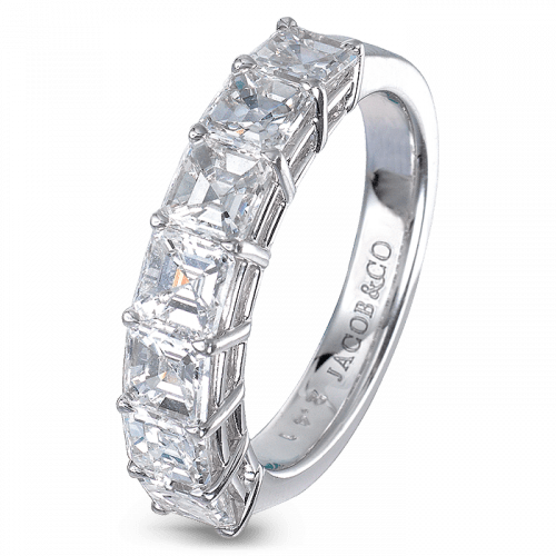 Square Emerald-Cut Partial Eternity Band