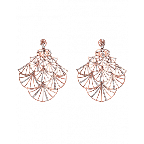 Half Pave Rose Gold Fan Earrings