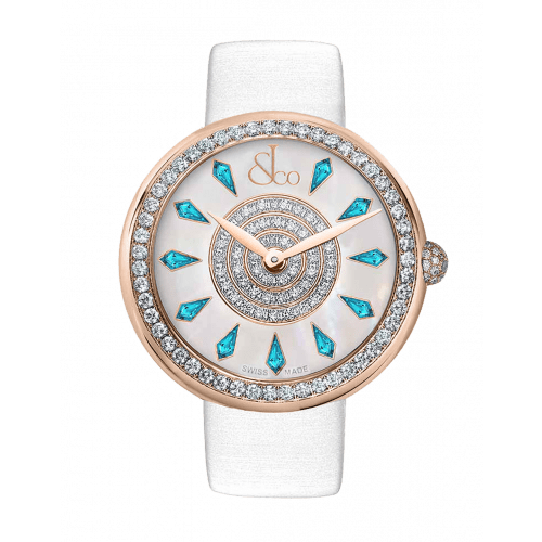 Brilliant One Row Rose Gold Icy Blue Sapphires 38mm
