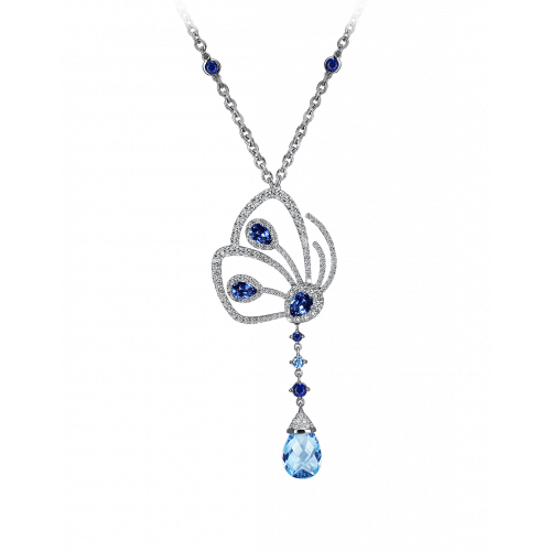 Papillon Necklace with Blue Sapphire