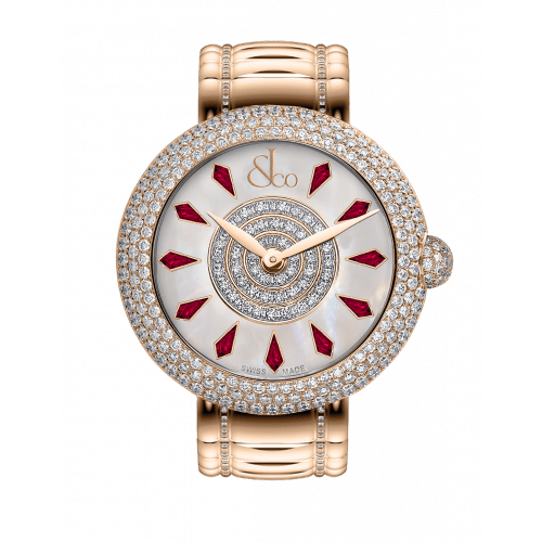 Brilliant Half Pave Rose Gold Couture Ruby 38mm