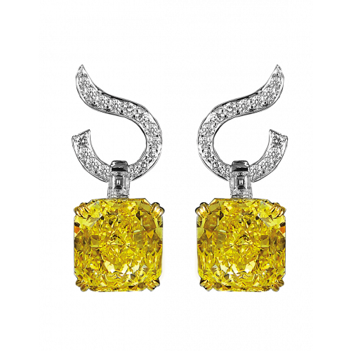 Fancy Intense Yellow Diamond Drop Earring